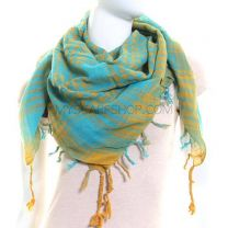 Turquoise & Yellow Arab Scarf Shemagh