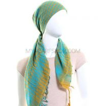 Turquoise & Yellow Arab Scarf (Shemagh)