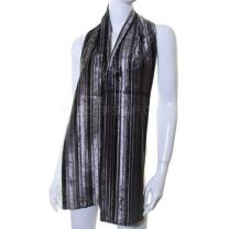 Grey Stripe Reversible Velvet Scarf