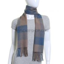 Blue Checked Lambswool Scarf