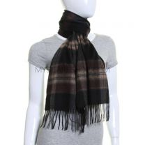Black & Brown Tartan Wool Scarf with Cashmere