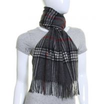 Grey Tartan Wool & Cashmere Blend Scarf