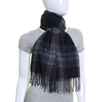 Blue Tartan Wool & Cashmere Blend Scarf