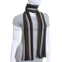 Khaki Stripes Pure Wool Knitted Scarf