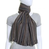 Brown Fine Stripes Wool Knitted Scarf