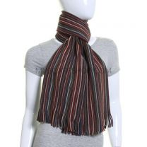 Multicolour Fine Stripes Pure Knitted Wool Scarf