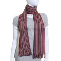 Pink Fine Stripes Pure Wool Knitted Scarf