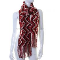 Burgundy Zig Zag Detail Winter Scarf