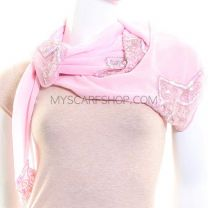 Pink Sequin  Embroidered Square Georgette Scarf