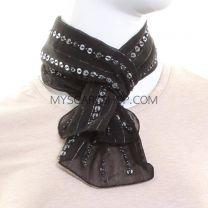 Black Sequin Chiffon Scarf