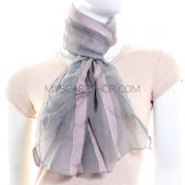 Grey Chiffon Striped Scarf
