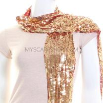 Gold Sequin Scarf on Red Netting