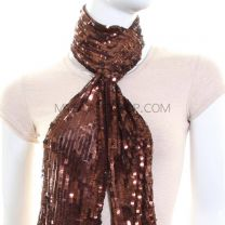 Brown Sequin Slim Scarf