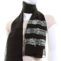 Black Chiffon Striped Shawl