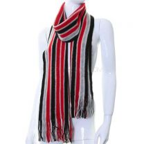 Red and Grey Stripes Knitted Wool Scarf