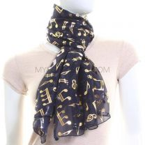 Navy Blue Chiffon Scarf (Musical Notes)