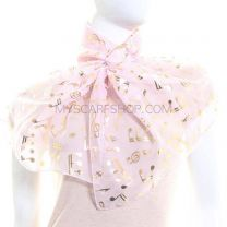 Light Pink Chiffon Scarf (Musical Notes)