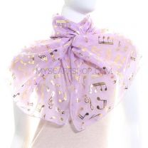 Lilac Chiffon Scarf (Musical Notes)