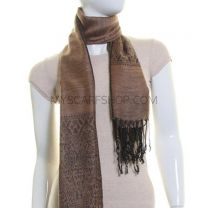 Brown Reversible Paisley Silk Blend Pashmina