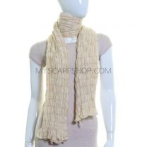 Beige Elasticated Crinkle Scarf