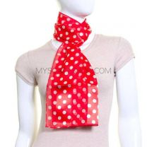 Red Polka Dot Satin Stripe Scarf
