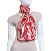 Burgundy Abstract Leaves Satin Stripe Scarf
