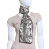 Gold Fine Animal Print Satin Stripe Scarf