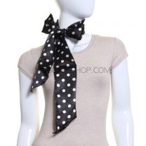 Black Polka Dot Satin Sash Scarf