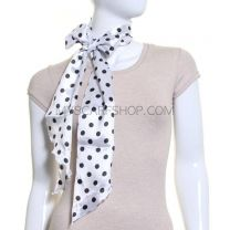 White Polka Dot Satin Sash Scarf
