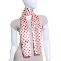 Cream Polka Dot Satin Stripe Scarf